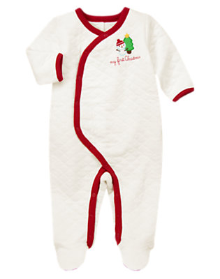 Baby Holiday Red First Christmas Quilted One-Piece by Gymboree