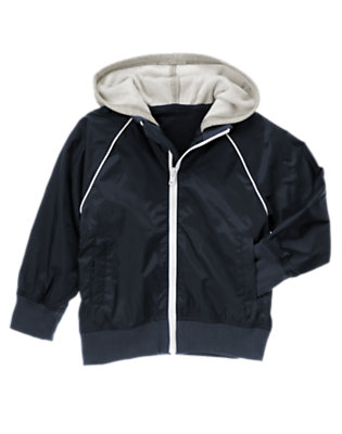 Boys Gym Navy Hooded Windbreaker Jacket by Gymboree