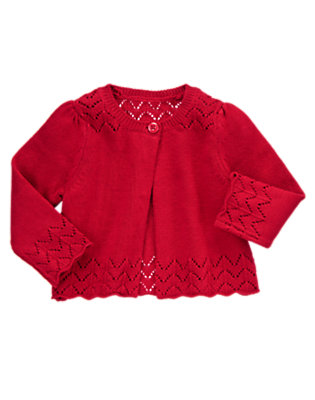 Baby Holiday Red Pointelle Sweater Cardigan by Gymboree