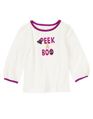 Toddler Girls Ivory Peek-A-Boo Kitty Tee by Gymboree