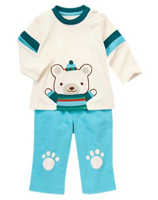 Baby Teal Blue Stripe Bear Hug Two-Piece Set by Gymboree