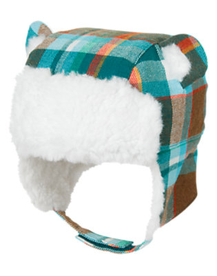 Baby Teal Blue Plaid Furry Plaid Hat by Gymboree