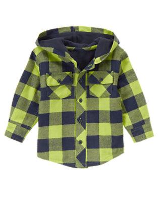 Pine Needle Plaid Plaid Hooded Flannel Shacket by Gymboree