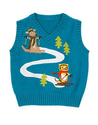 Wintertime Teal Ski Friends Sweater Vest by Gymboree