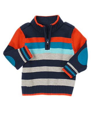 Night Sky Blue Stripe Half Zip Sweater by Gymboree