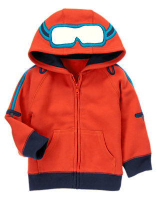 Bonfire Red Ski Goggles Fleece Hoodie by Gymboree