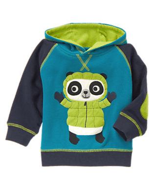 Wintertime Teal Panda Fleece Hoodie by Gymboree