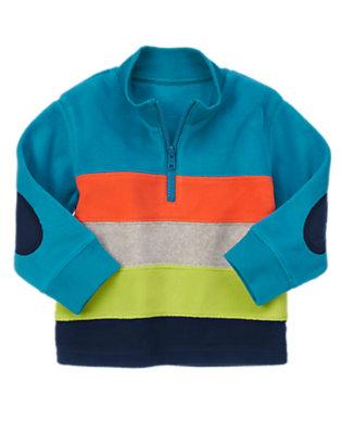 Wintertime Teal Stripe Half Zip Microfleece Pullover by Gymboree
