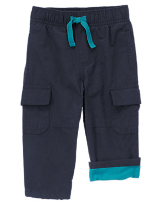 Toddler Boys Night Sky Blue Fleece Lined Cargo Pants by Gymboree
