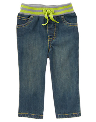 Denim Straight Fit Pull-On Jeans by Gymboree