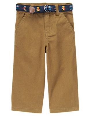 Toddler Boys Bark Khaki Belted Pants by Gymboree