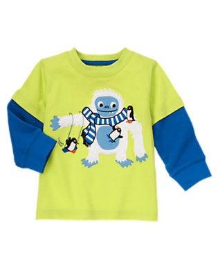 Arctic Lime Furry Yeti Tee by Gymboree