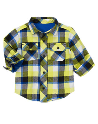 Arctic Lime Plaid Flannel Shacket by Gymboree