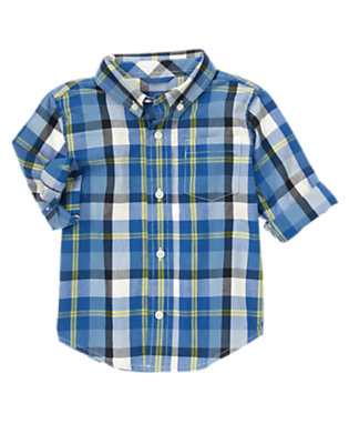 Toddler Boys Blue Chill Plaid Shirt by Gymboree