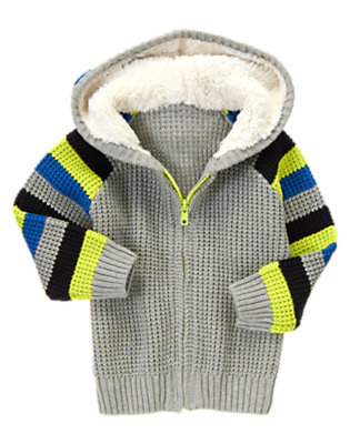 Grey Stripe Hoodie Sweater by Gymboree