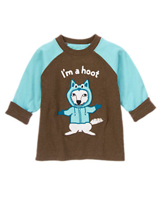 Hot Cocoa Heather / Icy Teal I'm a Hoot Reversible Tee by Gymboree