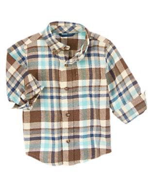 Winter Blue Plaid Plaid Flannel Shirt by Gymboree