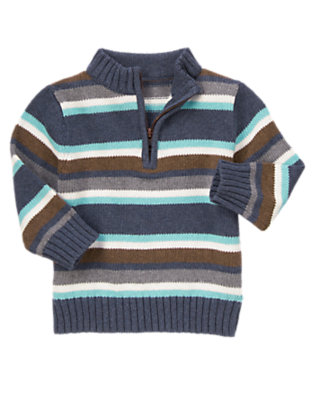 Winter Blue Stripe Half Zip Stripe Sweater by Gymboree