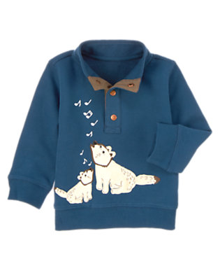 Winter Blue Heather Musical Fox Pullover by Gymboree