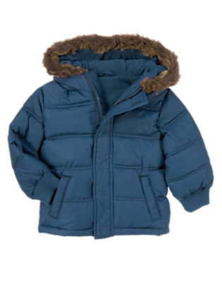 Nordic Navy Microfleece Lined Puffer Jacket by Gymboree
