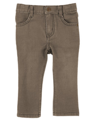 Tree Bark Straight Fit Brown Jean by Gymboree