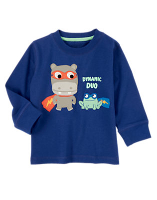 Super Blue Dynamic Duo Tee by Gymboree
