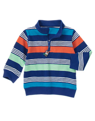 Super Blue Stripe Super Hippo Half Zip Pullover by Gymboree
