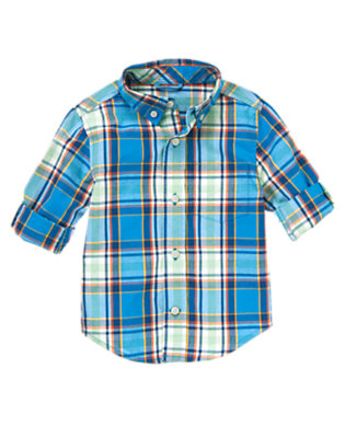 Blue Bolt Plaid Plaid Shirt by Gymboree