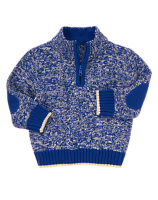 Super Blue Half Zip Marled Pullover Sweater by Gymboree