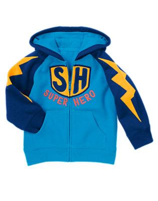 Blue Bolt Super Hero Fleece Hoodie by Gymboree
