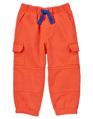 Toddler Boys Orange Zap Fleece Cargo Active Pants by Gymboree