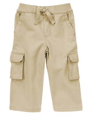 Khaki Pull-on Twill Cargo Pants by Gymboree