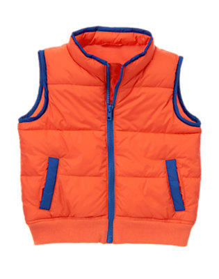 Toddler Boys Orange Zap Puffer Vest by Gymboree