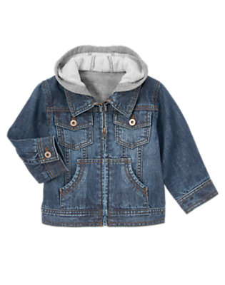 Toddler Boys Denim Denim Hoodie Jacket by Gymboree
