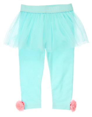 Toddler Girls Iceberg Blue Stripes Tulle Tutu Leggings by Gymboree