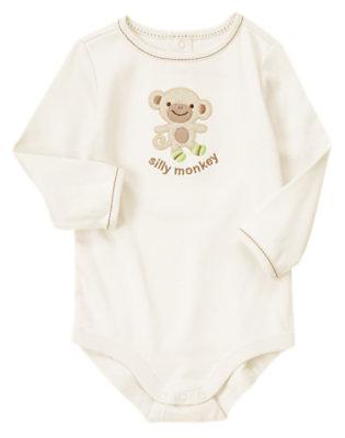 Cream Silly Monkey Bodysuit by Gymboree