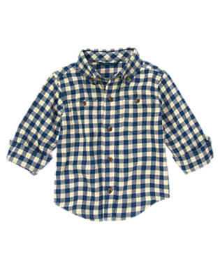 Nordic Navy Checks Checked Flannel Shirt by Gymboree