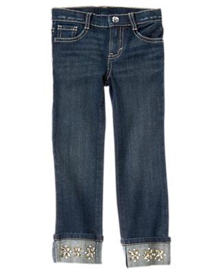 Girls Denim Gem Cuff Denim Jeans by Gymboree