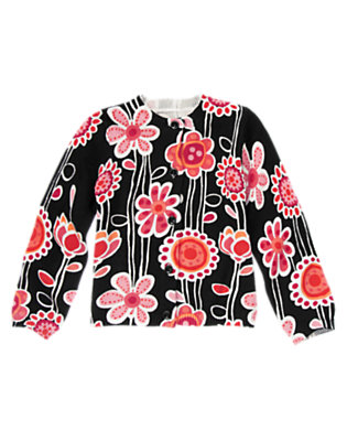 Girls Black Floral Floral Sweater Cardigan by Gymboree