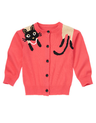 Girls Purrfect Pink Kitty Sweater Cardigan by Gymboree