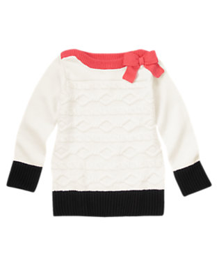 Girls Ivory Colorblock Boatneck Sweater by Gymboree