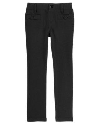 Girls Black Bow Skinny Ponte Pants by Gymboree