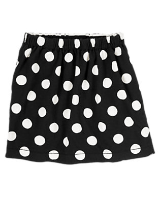Girls Black/White Striped & Dot Reversible Skirt by Gymboree
