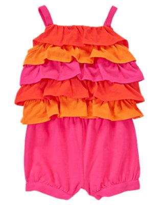 Toddler Girls Orange Seahorse Ruffle Romper by Gymboree