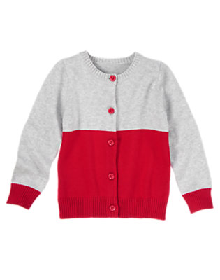 Girls Heathered Grey/Red Heart Elbow Sweater Cardigan by Gymboree