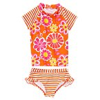Flower Stripe Rash Guard Set