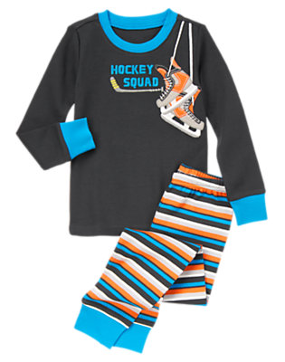 Graphite Gray Hockey Squad Two-Piece Gymmies® by Gymboree
