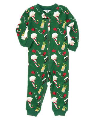 Toddler Boys Pine Green Elf One-Piece Cotton Pajama by Gymboree