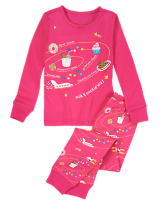 Girls Sugary Pink Milk & Cookie Way Two-Piece Gymmies® by Gymboree