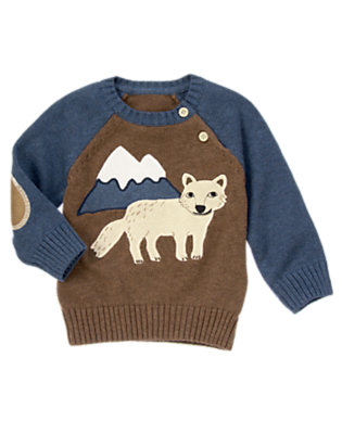 Winter Blue Heather Arctic Fox Sweater by Gymboree
